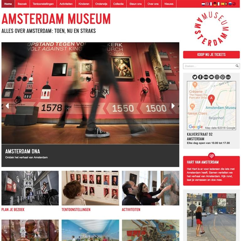 Screenshot of the Amsterdam Museum website.