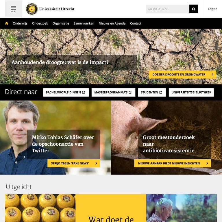 Screenshot of the Utrecht University website.